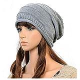 HENGSONG Frau Wintermütze Damen Wollmütze Weiche Warme Woll Strick Lady Hat Baggy Hat (grau)
