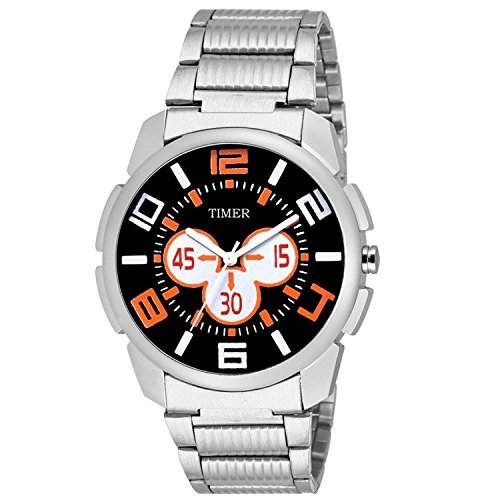 TIMER-Combo-of-Stylsih-Silver-Color-Dial-Watch-with-Black-Waterproof-HP-Bag-For-Men-Boys