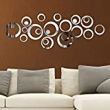 #8: BikriKendra 3D Acrylic Mirror Wall décor Genuine Sticker ring n dots silver 24 rings modelno15 with ( 4 super hero mobile sticker Free ) { for make your home beautiful search