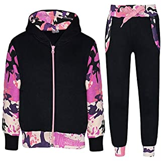 A2Z 4 Kids® Kids Tracksuit Girls Boys Designer's Plain Contrast - Plain 101 - Camo Baby Pink - 11-12 Years