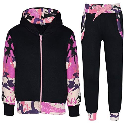 Jungen Sportbekleidung (A2Z 4 Kids® Kinder Trainingsanzug Mädchen Jungen Designer Plain Kontrast - T.S Plain 101 Camo Baby Pink 5-6)