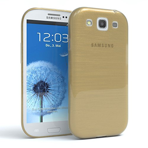 Samsung Galaxy S3 / S3 Neo Schutzhülle Silikon, gebürstet I von EAZY CASE I Slimcover in Edelstahl Optik, Handyhülle, TPU Hülle / Soft Case, Backcover, Silikonhülle Brushed, Gold
