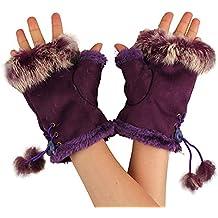 TININNA De punto de lana de imitación de piel de conejo sin dedos Guantes calentadores de brazo para Mujeres Niñas Morado