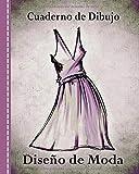 Cuaderno de Dibujo, Diseño de Moda: Libro de Bocetos Para Diseñadora Principiantes, Vestido Morado