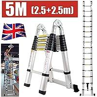 Autofather - Escalera telescópica de multiusos, de aluminio, plegable, extensible con más peldaños, ligera, fácil de transportar, resistente, segura para escalar (3,8 m)