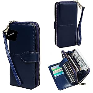 xhorizon TM SR Women Large Capacity Leather Zipper Wallet Purse Wristlet Handbag with Removable Wrist Strap for iPhone SE/5/6/6 Plus/7/7 Plus Samsung S5/S6/S6Edge/S7/S7Edge LG G3 G4 G5