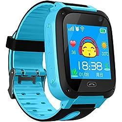 Reloj Niños Smart Watch Phone, LBS/GPS Tracker Smartwatch para Niños Niñas con Cámara SOS Ranura para Tarjeta Pantalla táctil Reloj Childrens Gift (Blue)