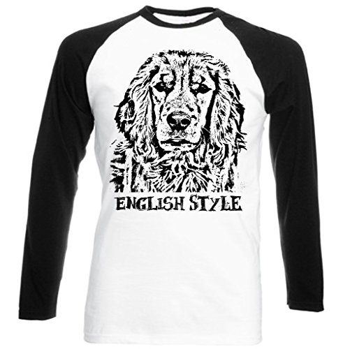Teesquare1st Men's COCKER SPANIEL ENGLISH STYLE Black Sleeved Baseball T-Shirt Size Large
