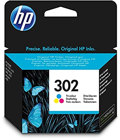 HP 302 Cartouche d'Encre Trois Couleurs (Cartouche Cyan, Magenta, Jaune) Authentique (F6U65AE)