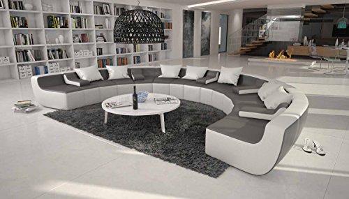 Xxl sofa u form  Große Wohn-Landschaft mit Kunstleder Bezug schwarz 400x265 cm U ...