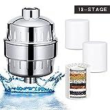 Wonyered universel filtre de douche 12-stage purificateur d'eau profonde le chlore présent Installation facile remplaçable Douche filtre à eau avec 3Cartouches de filtre