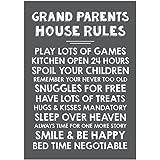 Impresiones de fotos de Best abuelos Reglas de la casa de la tipografía Póster Impresión, pizarra, A4