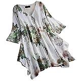 JURTEE Camiseta De Algodón Y Lino para Mujer Talla Grande Casual Cuello En V Impresión Top...