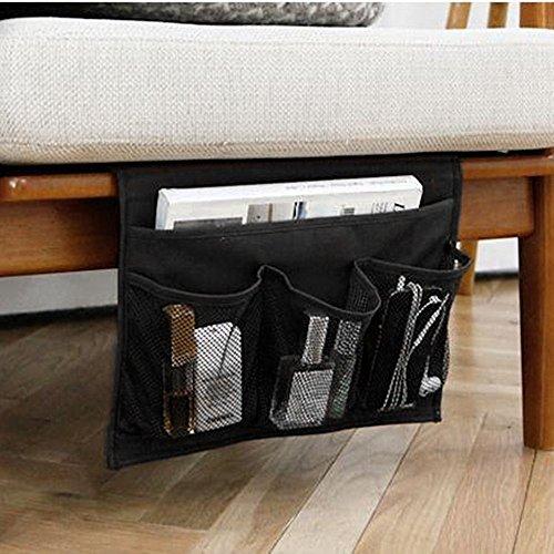 WADY Borsa portaoggetti da appendere, con 4tasche, per divano o letto, contiene libri, telefono, occhiali, telecomando della TV (nero)