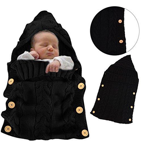 Wolle Knit Schlafsack Baby Unisex Vierjahreszeiten Kinderschlafsack Babyschlafsack Baumwolle Wattierter Dickes Fleece Weich Warm Rosa stern für Babys Kleinkinder Neugeborene 0-12 Monate 70 cm