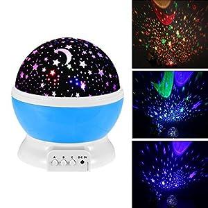 Baby Night Light Moon Star Projector 360 Degree Rotation,Romantic Starry Night Light Lamp Projection for Women Children Kids Bedroom Decor