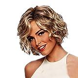 Parrucca Corta Riccia Ondulato Capelli Ricci Bob Wig MEIbax Parrucca Full Head Hair Extensions Densità Capelli Corti Veri Oro Naturale (Oro, 30cm)