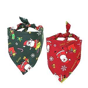 CDJX Lot de 2 Bandanas de Noël pour Chien, Costume de Noël élégant, écharpe de Père Noël, 63,5 cm, Lavable et réversible pour Chien, Chat, nœuds Papillon pour décorations