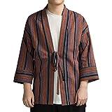 ZooBoo Japanischer Kimono Strickjacke Kleidung - Jinbei Klassischer Stil Shirt traditionelle Harajuku Haori Antike Herbst Herren Jacke mit Streifen Kleidung Robe Kostüm - Hanf Baumwolle (M, Rot)