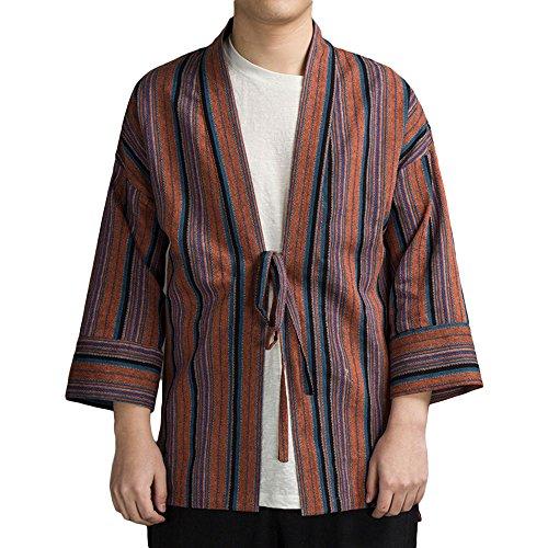 imono Strickjacke Kleidung - Jinbei Klassischer Stil Shirt Traditionelle Harajuku Haori Antike Herbst Herren Jacke mit Streifen Kleidung Robe Kostüm - Hanf Baumwolle (XXL, Rot) (Japanische Braut Kostüm)
