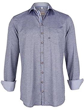 OS Trachten Herren Trachtenhemd Slim Fit Jeansblau, 48 Jeansblau,