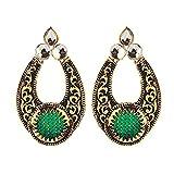 Peora Green Choki Earrings with Black En...
