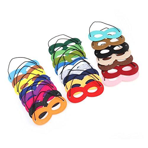 Masken Filz Cosplay Party Augen Masken mit elastischen Seil 24 Stück (Halloween Superhelden-augen-masken)