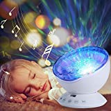 HowiseAcc Remote Control Ocean Wave Projector 12 LEDs Night Light Lamp with 7 Colorful Light Modes & Music Speaker for Kids Living Room and Bedroom