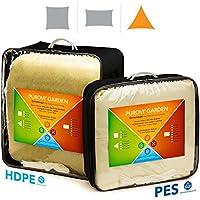Purovi® Voile d'ombrage | Triangulaire avec Protection anti-UV | En Polyester Imperméable à l'eau ou en Polyéthylène Haute Densité Perméable à l'air | 4m x 4m x 4m en PE-HD