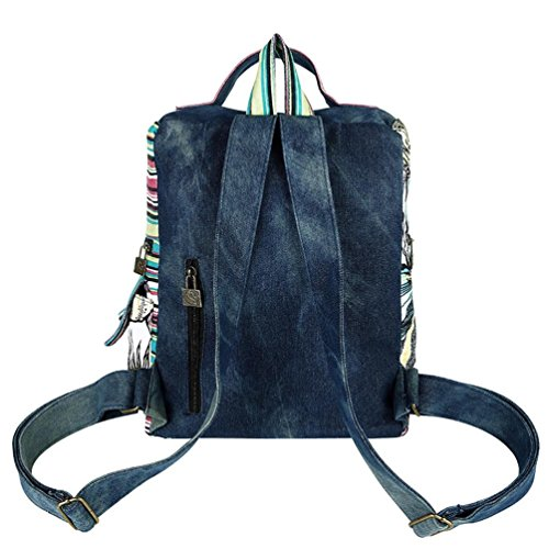 Chang Spent borsa a tracolla di tela denim universitario del vento delle donne zaino da viaggio , blue Blue