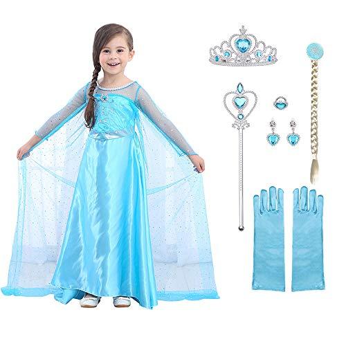 URAQT Mädchen Prinzessin ELSA Kleid Kostüm Eisprinzessin Set aus Diadem, Handschuhe, Zauberstab (Größe 100 für 2-3 Jahre, Kleid ELSA + 6pcs Zubehör) (Elsa Kostüm Baby)