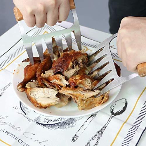 51uhJswfvCL - Fleisch Krallen für Pulled Pork Meat Claws BBQ Gabeln Bärenkrallen Edelstahl mit Holzgriff [2 Stück] Langlebig & Scharfe, Geschwungene Gabeln zum Greifen, Zerkleinern & Reißen von Fleisch & Hühnchen