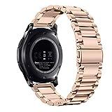 Fintie Armband für Samsung Galaxy Watch 46mm / Gear S3 Frontier / Gear S3 Classic/Huawei Watch 2 Classic/Moto 360 2. Generation 46mm Smart Watch - 22mm Uhrenarmband Edelstahl Metall Ersatzband, Roségold