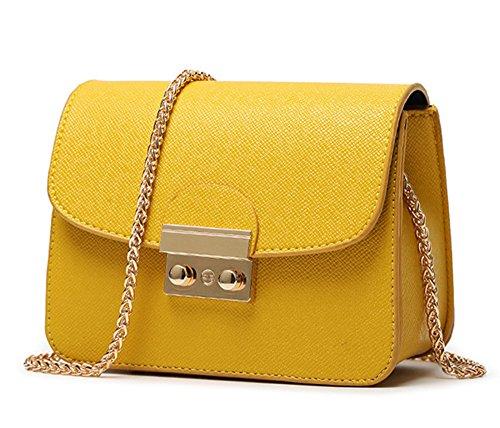 Canvas-Optik Luxus Clutch Mode elegante Damen Handtasche Leder-Optik Abendtasche Partytasche Handgelenktasche mit 3 Seitenfächern hochwertige Schultertasche Umhängtasche Damentasche (Gelb)