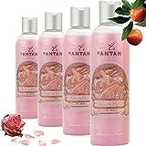 Un Air d'Antan Lot de 4 dont 1 Gratuit - Gel Douche Vintage Glamour ROSE - Parfum Doux et Floral Rose, Patchouli et Peche - Pack 4x250ml, Une Idée Pour Faire un Coffret Cadeau Anniversaire