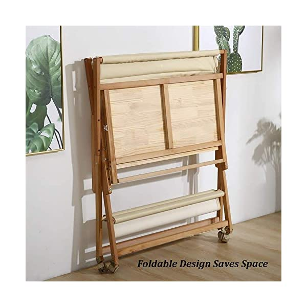 Wooden Baby Diaper Changing Table Folding Care Station with Casters, Storage and Cushion, Nursery Organizer for Small Space (Color : White) GUYUE Beech Material: Birch wood hard, good load bearing performance, no deformation, strong pressure resistance, clear texture. High-grade PU Leather: It has excellent wear resistance, excellent breathability, aging resistance, soft and comfortable. Size: As shown, 80x56x(80-85-90-95)cm, Bearing weight 150kg. 3