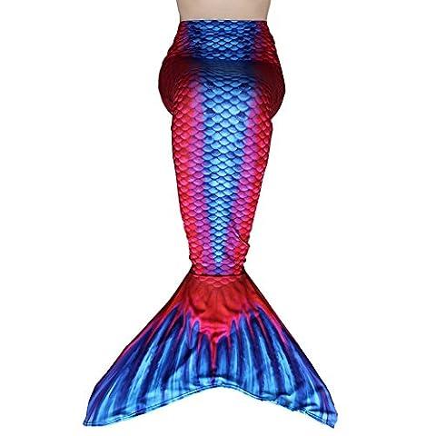 Dressyday Fille Maillot de Bain Queue de Sirène Déguisement de Sirène pour Enfant (PAS de Flipper) (Enfant12, Rouge-Bleu)