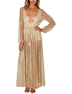El vestido de noche Bright-Piece manga larga frente y la parte trasera profunda V Vestido de baile vestido de...