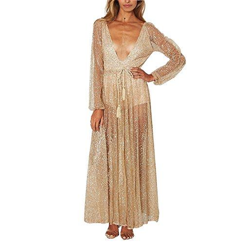 Das Abendkleid Bright-Piece Langarm Front und Rear Deep V Kleid Abschlussballkleid Hochzeitskleid , gold , (Kleidung Womens St Tag Patricks)
