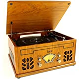 Light Brown Wood Antique Record CD Radio AM/FM & Cassette Player 4 in 1 Music System