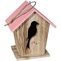 Casa de pájaros de madera, nido para pájaros de madera fresada, aproximadamente 19 x