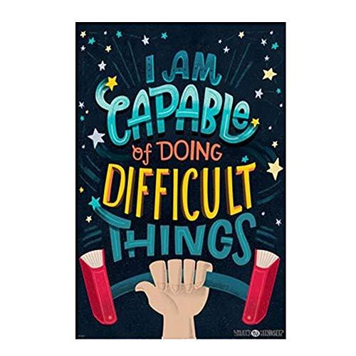 Hosaire 1x 'I Am Capable of Doing Difficult Things' Póster de Tela de Seda Lamina de Pared Motivational Quote Sign Inspirational Wall Art Print Picture for Decoración del Hogar 40x50cm