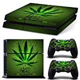 Stillshine Decal Full Body Faceplates Skin Sticker For Sony Playstation 4 PS4 console x 1 and controllers x 2 (Green Leaf)
