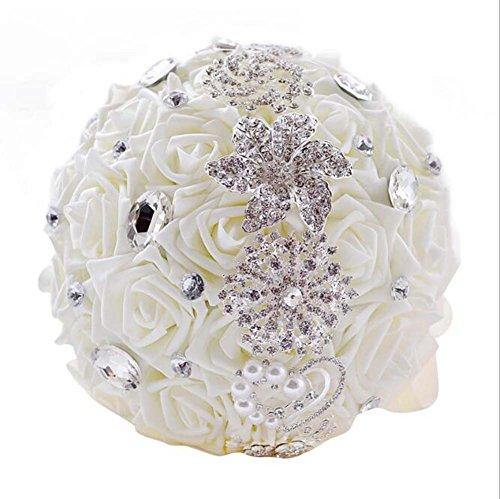Diamants à la main perle Satin Rose demoiselles d'honneur Bouquets artificiels de mariée personnalisé mariée romantique fournitures de mariage de mariage