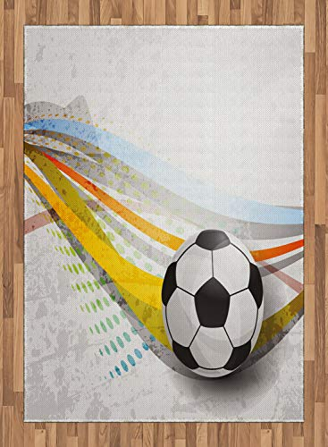 ABAKUHAUS Teen Zimmer Teppich, Fußball-Fußball-Linien, Deko-Teppich Digitaldruck, Färben mit langfristigen Halt, 80 x 150 cm, Mehrfarbig (Zimmer Teppiche Für Teens)