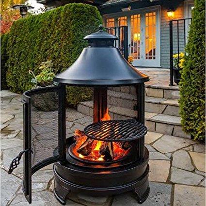 Northwest erschließen Outdoor Kochen Fire Pit mit einstellbarer 3Level Porzellan Beschichtete Grill Rack für Lebensmittel geeignet -