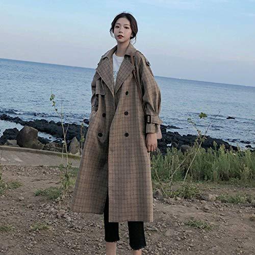 MEJEJO Koreanischen Stil Damen Trenchcoat Plaid Lange Zweireiher Taille Gürtel Übergröße Lose Frauen Mantel Oberbekleidung Mit Sturmklappen-Plaid,L Plaid Trench Jacke