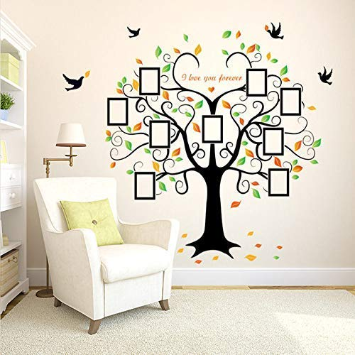 StylishWalls Extra Large Full Wall 3D Family Tree Photo Frame Wall Sticker I Beautiful Tree of Life with Quote and 9 Photo Frames Green Leaves and Birds I Vinyl 204 cm X 160 cm Extra Large