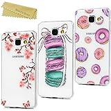 Mavis's Diary 3 x Coque Samsung Galaxy A5 2016 ( ne s'adapte à Version 2015 ) Étui de Protection TPU Housse Souple Phone Case Cover Donut Macaron Fleur IMD Dessin + Chiffon