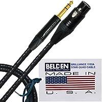 2metri–Belden 1192A Brilliance (Made in USA)–Star Quad, alta definizione equilibrato cavo patch connettore XLR femmina e NC3FXX-B con Neutrik NP3X -B ¼ (6,35mm) a 3poli TRS Stereo Plug